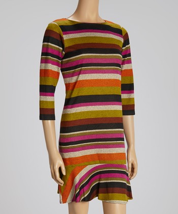 Orange, Fuchsia & Black Three-Quarter Sleeve Dress