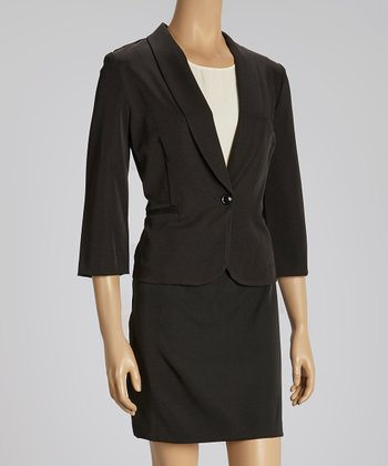Black Shawl Lapel Blazer & Skirt
