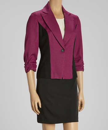 Magenta & Black Color Block Blazer & Skirt