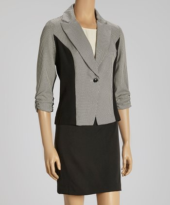Black & Ivory Color Block Blazer & Skirt