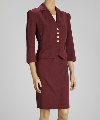 Berry Cinch Sleeve Blazer & Skirt