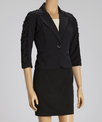 Black Ruched Blazer & Skirt
