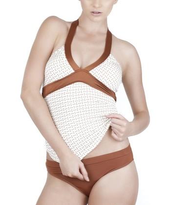 Copper & White Crisscross Tankini