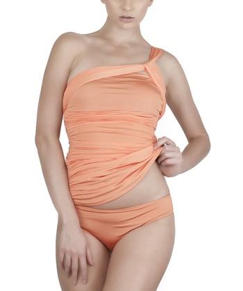 Bright Orange Cleo Asymmetrical Tankini