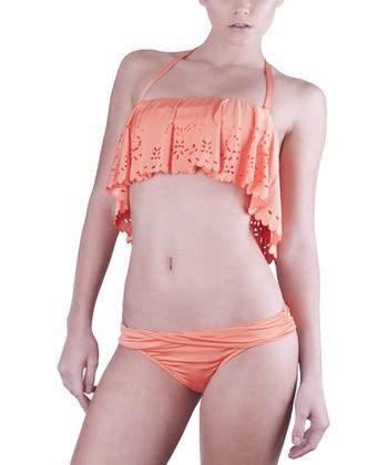Bright Orange Flounce Top & Twisted Brief Bikini