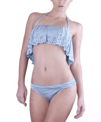Dusty Blue Flounce Top & Twisted Brief Bikini