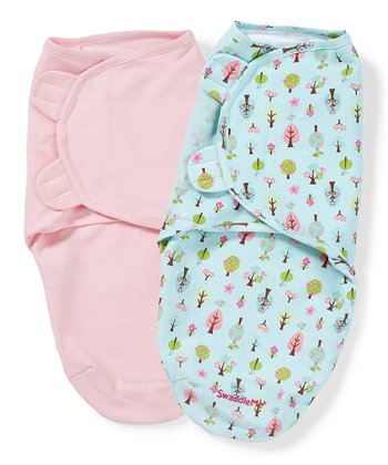 Pink & Light Blue Tree SwaddleMe Set