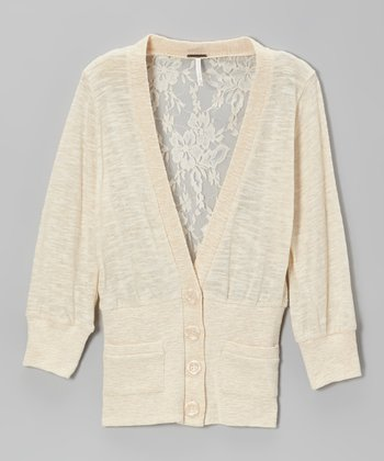 Oatmeal Heather Lace & Sequin Back Cardigan