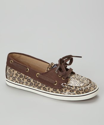 Brown Shimmer Leopard Cruiser Boat Shoe