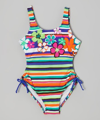 Orange & Blue Stripe Floral One-Piece - Girls
