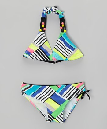 Green & Blue Stripe Color Block Bikini - Girls