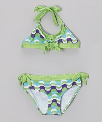 Green & Purple Waves Ruffle Bikini - Girls