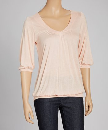 Peach V-Neck Top