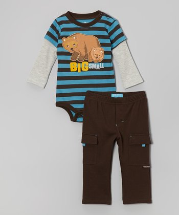 Blue & Black Stripe Polar Bear Bodysuit & Pants - Infant