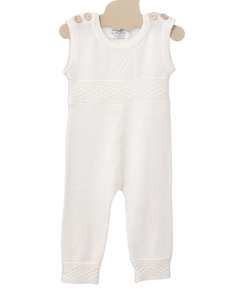 Crème White Saga Merino Wool Playsuit - Infant