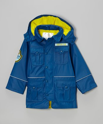 Navy 'Police' Cargo Pocket Raincoat - Infant, Toddler & Boys