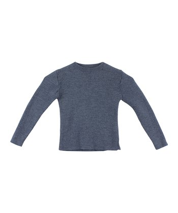 Petrol Blue Ribbed Merino Wool Sweater - Infant, Toddler & Kids