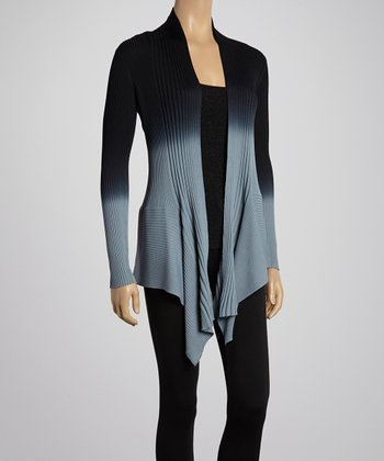 Black Ombré Ribbed Open Cardigan & Tank