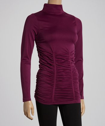 Sugar Plum Ruched Turtleneck