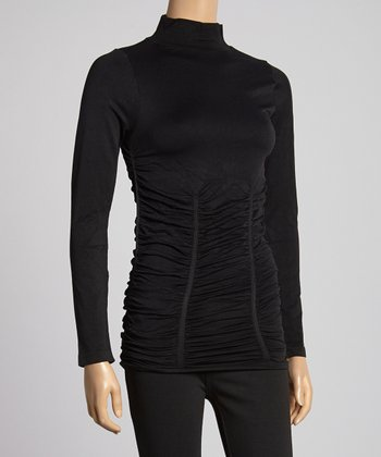 Black Ruched Turtleneck
