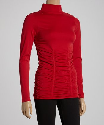 Red Ruched Turtleneck