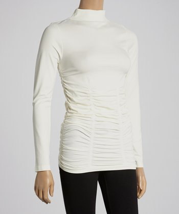 Ivory Ruched Turtleneck