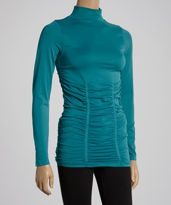 Real Teal Ruched Turtleneck