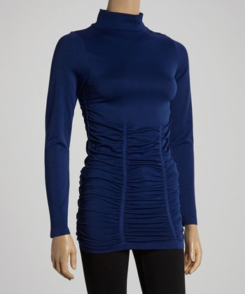 Twilight Blue Ruched Turtleneck