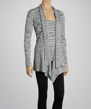 Gray Variegated Open Cardigan & Tank