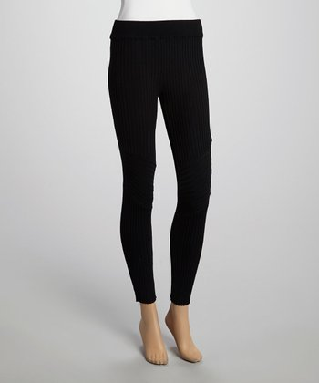 Black Ribbed Leggings