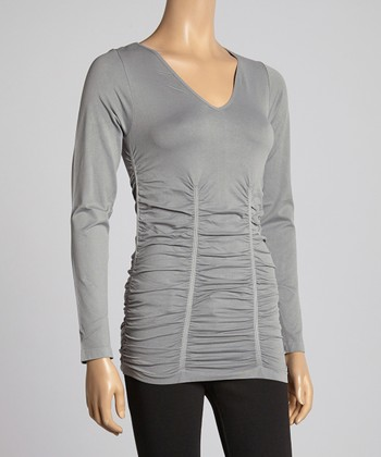 Pebble V-Neck Ruched Top