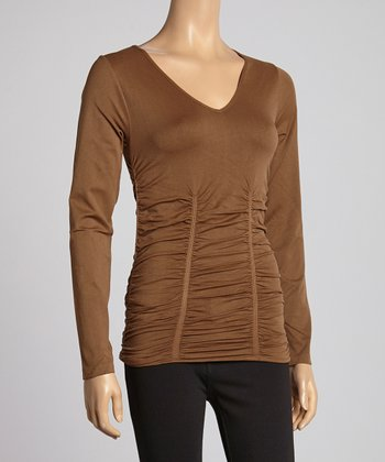 Pecan V-Neck Ruched Top