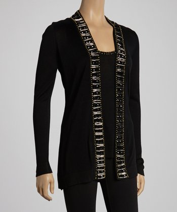 Black Beaded Open Cardigan & Tank