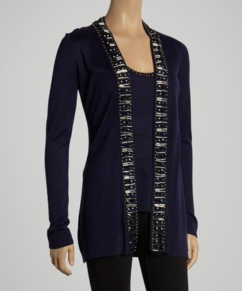 Navy Beaded Open Cardigan & Tank