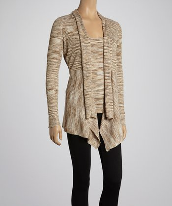 Camel Variegated Open Cardigan & Tank