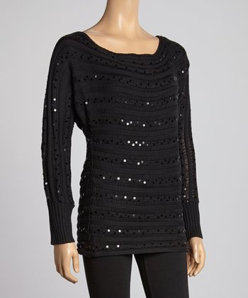 Black Ribbed Sequin Sweater