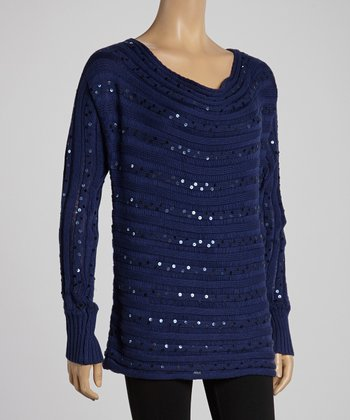 Twilight Blue Ribbed Sequin Sweater
