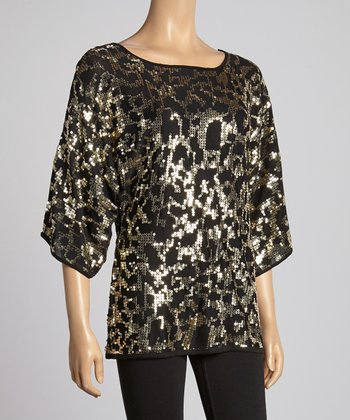Black & Gold Sequin Scoop Neck Top