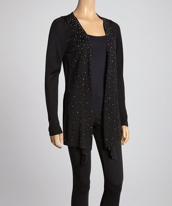 Black Shimmer Open Cardigan