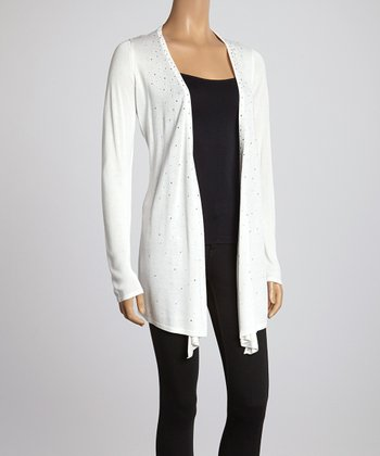White Shimmer Open Cardigan