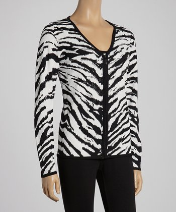 White & Black Zebra Cardigan & Tank