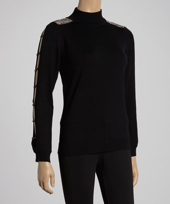 Black Rhinestone Turtleneck