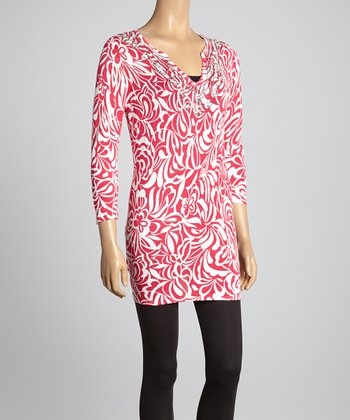 Hot Pink Floral Embellished Tunic