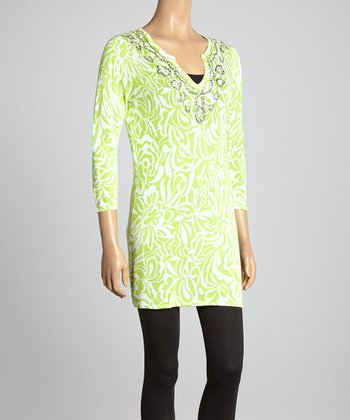 Lime Floral Embellished Tunic