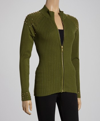 Military Green Studded Cardigan