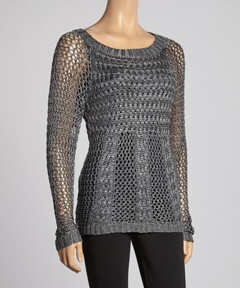 Gunmetal Cable-Knit Tunic