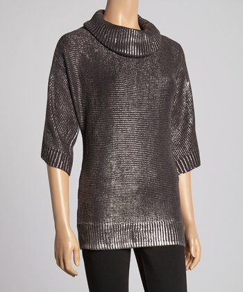 Dark Night Shimmer Cowl Neck Top