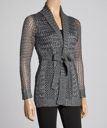 Gunmetal Cable-Knit Duster