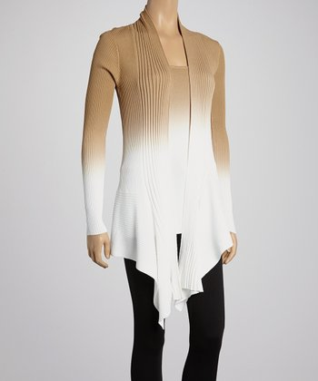 White & Iced Latte Ombré Ribbed Open Cardigan & Tank