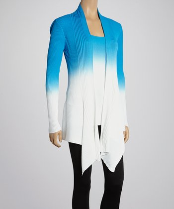 White & Blue Ombré Ribbed Open Cardigan & Tank